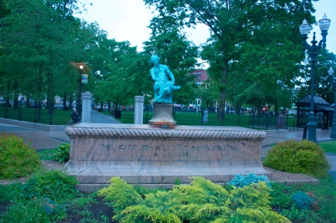 The infamous Turtle Boy Statue of Worcester.